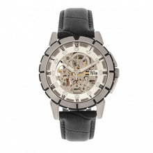 Load image into Gallery viewer, Reign Philippe Automatic Skeleton Leather-Band Watch - Black/White - REIRN4603