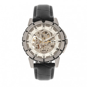 Reign Philippe Automatic Skeleton Leather-Band Watch - Black/White - REIRN4603