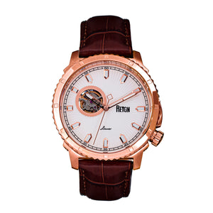 Reign Bauer Automatic Semi-Skeleton Leather-Band Watch - Rose Gold/White - REIRN6005
