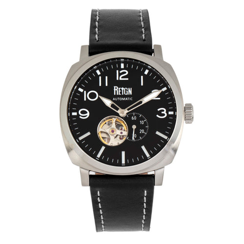 Reign Napoleon Automatic Semi-Skeleton Leather-Band Watch - REIRN5801