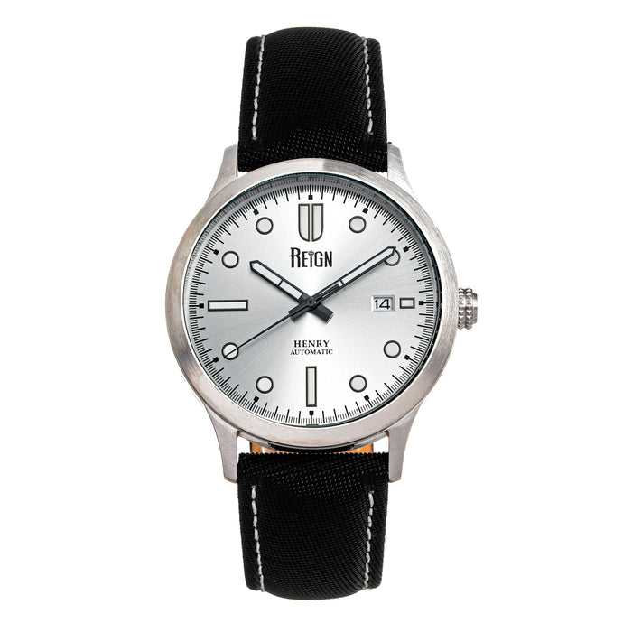 Reign Henry Automatic Canvas-Overlaid Leather-Band Watch w/Date - Silver - REIRN6201