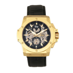 Reign Commodus Automatic Skeleton Leather-Band Watch - Gold/Black - REIRN4004