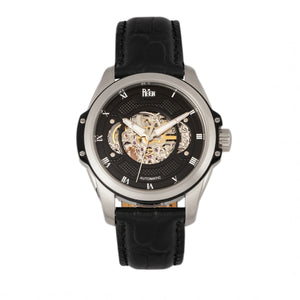 Reign Henley Automatic Semi-Skeleton Leather-Band Watch - Black - REIRN4504