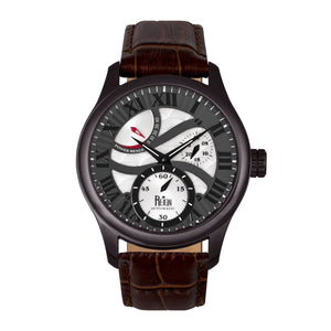 Reign Bhutan Leather-Band Automatic Watch - Black/Brown - REIRN1604