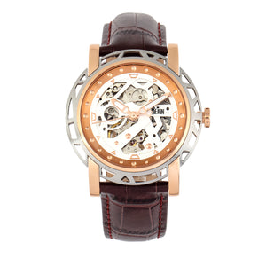 Reign Stavros Automatic Skeleton Leather-Band Watch - Rose Gold/White - REIRN3703