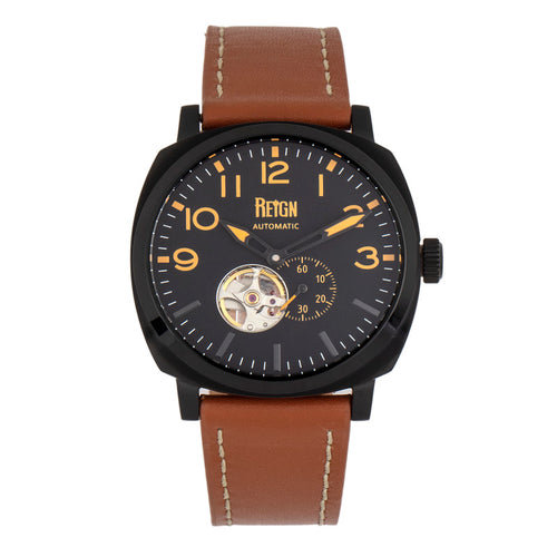Reign Napoleon Automatic Semi-Skeleton Leather-Band Watch - REIRN5805