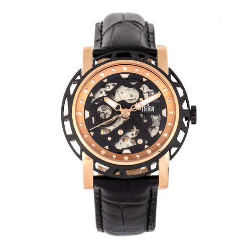 Reign Stavros Automatic Skeleton Leather-Band Watch - REIRN3706