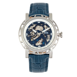 Reign Stavros Automatic Skeleton Leather-Band Watch - Silver/Navy - REIRN3702