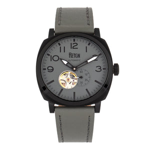 Reign Napoleon Automatic Semi-Skeleton Leather-Band Watch - Black/Grey - REIRN5804