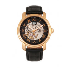 Load image into Gallery viewer, Reign Kahn Automatic Skeleton Leather-Band Watch - Rose Gold/Black - REIRN4306
