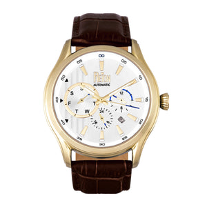 Reign Gustaf Automatic Leather-Band Watch - Brown/Gold - REIRN1502