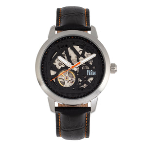 Reign Rudolf Automatic Skeleton Leather-Band Watch - Silver/Orange - REIRN5902