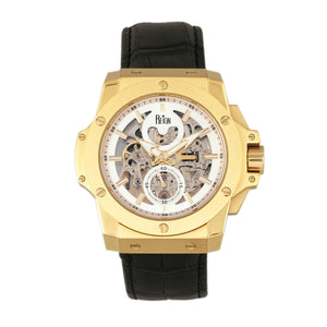 Reign Commodus Automatic Skeleton Leather-Band Watch - Gold/Silver - REIRN4003