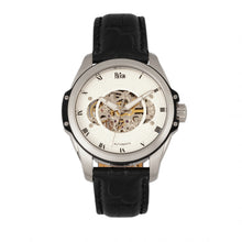 Load image into Gallery viewer, Reign Henley Automatic Semi-Skeleton Leather-Band Watch - Black/White - REIRN4503