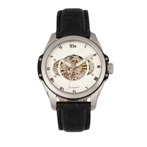 Reign Henley Automatic Semi-Skeleton Leather-Band Watch - Black/White - REIRN4503