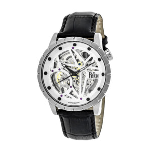 Reign Xavier Automatic Skeleton Leather-Band Watch - Silver - REIRN3901