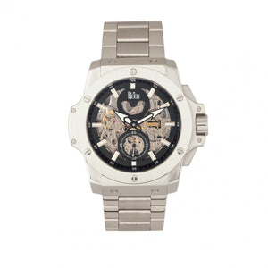 Reign Commodus Automatic Skeleton Bracelet Watch - Silver/Black - REIRN4007
