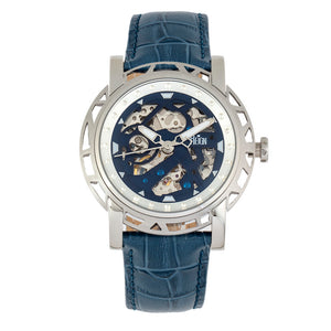 Reign Stavros Automatic Skeleton Leather-Band Watch