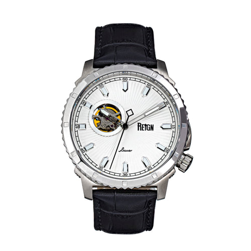 Reign Bauer Automatic Semi-Skeleton Leather-Band Watch - REIRN6001