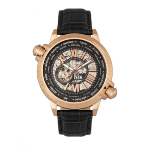 Reign Thanos Automatic Leather-Band Watch - Rose Gold/Black - REIRN2107
