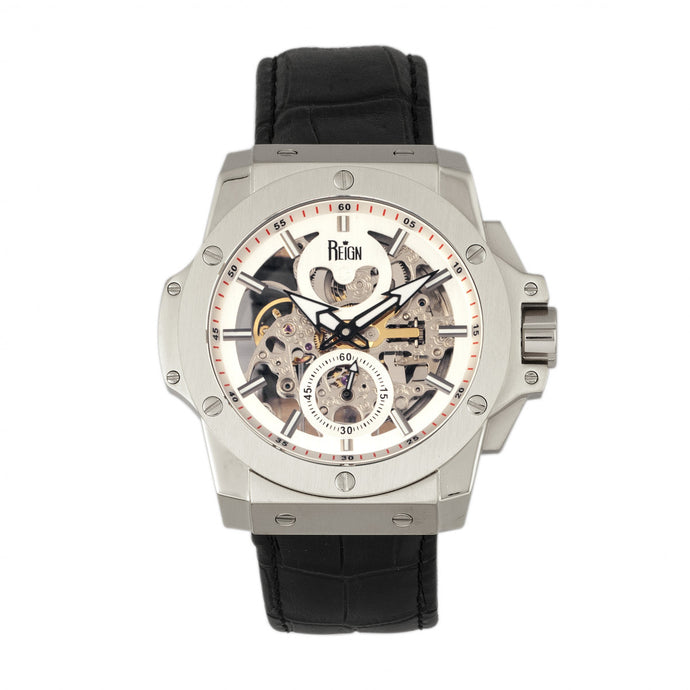 Reign Commodus Automatic Skeleton Leather-Band Watch - Silver - REIRN4001