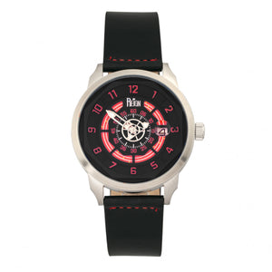 Reign Lafleur Automatic Leather-Band Watch w/Date - Silver/Red - REIRN5405