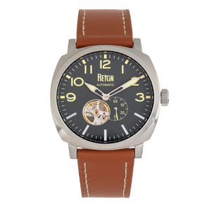 Reign Napoleon Automatic Semi-Skeleton Leather-Band Watch - Silver/Brown - REIRN5803