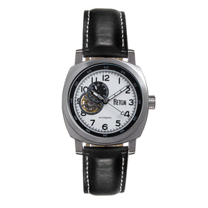 Reign Impaler Semi-Skeleton Leather-Band Watch - Black - REIRN6101