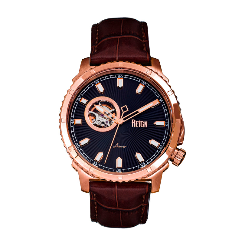 Reign Bauer Automatic Semi-Skeleton Leather-Band Watch