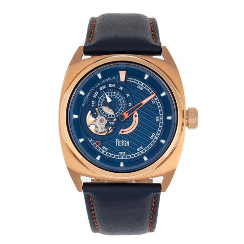 Reign Astro Semi-Skeleton Leather-Band Watch - REIRN5504