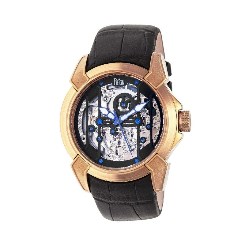 Reign Optimus Automatic Skeleton Leather-Band Watch