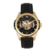 Load image into Gallery viewer, Reign Henley Automatic Semi-Skeleton Leather-Band Watch - Gold/Black - REIRN4505