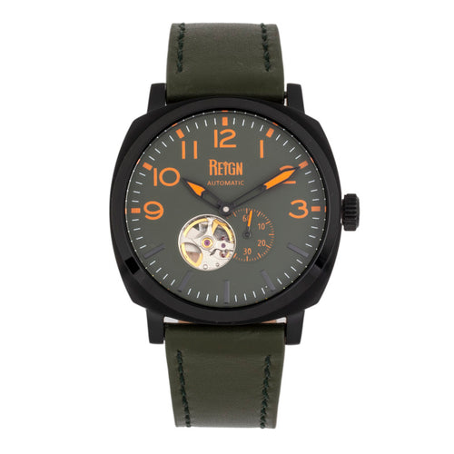 Reign Napoleon Automatic Semi-Skeleton Leather-Band Watch - REIRN5806