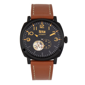 Reign Napoleon Automatic Semi-Skeleton Leather-Band Watch - Black/Brown - REIRN5805
