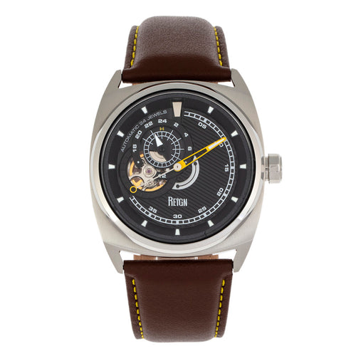 Reign Astro Semi-Skeleton Leather-Band Watch - REIRN5502