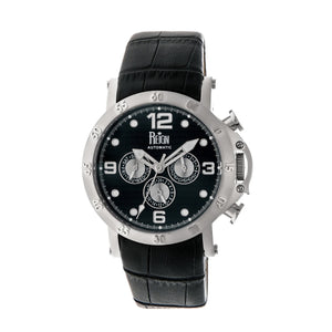 Reign Toretto Automatic Leather-Band Watch - Silver/Black - REIRN3502