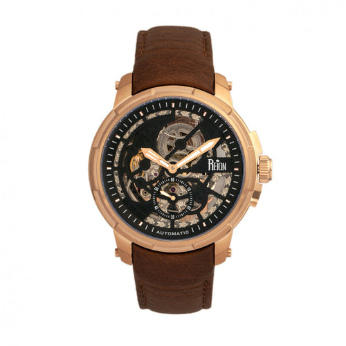 Reign Matheson Automatic Skeleton Dial Leather-Band Watch - REIRN5305