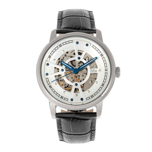 Reign Belfour Automatic Skeleton Leather-Band Watch - Silver - REIRN3601