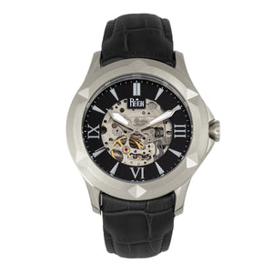 Reign Dantes Automatic Skeleton Dial Leather-Band Watch - Silver/Black - REIRN4704