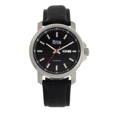 Load image into Gallery viewer, Reign Helios Automatic Leather-Band Watch w/Day/Date - Silver/Black - REIRN5705