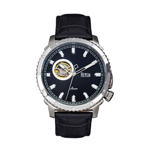 Reign Bauer Automatic Semi-Skeleton Leather-Band Watch - Silver/Black - REIRN6002