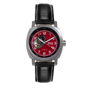 Reign Impaler Semi-Skeleton Leather-Band Watch - Red/Black - REIRN6104