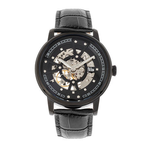 Reign Belfour Automatic Skeleton Leather-Band Watch