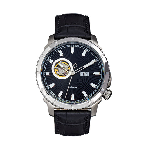 Reign Bauer Automatic Semi-Skeleton Leather-Band Watch - REIRN6002