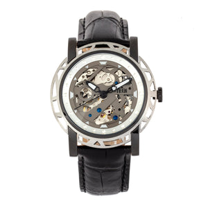 Reign Stavros Automatic Skeleton Leather-Band Watch - Silver/Charcoal - REIRN3704