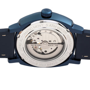 Reign Napoleon Automatic Semi-Skeleton Leather-Band Watch - Navy - REIRN5807