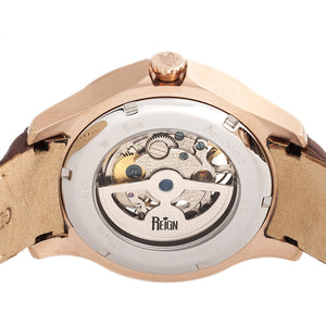 Reign Dantes Automatic Skeleton Dial Leather-Band Watch - Rose Gold/Brown - REIRN4706