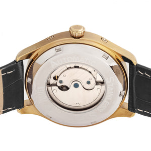 Reign Gustaf Automatic Leather-Band Watch - Black/Gold - REIRN1503