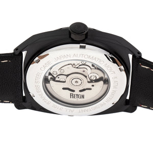 Reign Astro Semi-Skeleton Leather-Band Watch - Black - REIRN5505