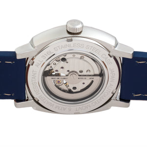 Reign Napoleon Automatic Semi-Skeleton Leather-Band Watch - Silver/Blue - REIRN5802
